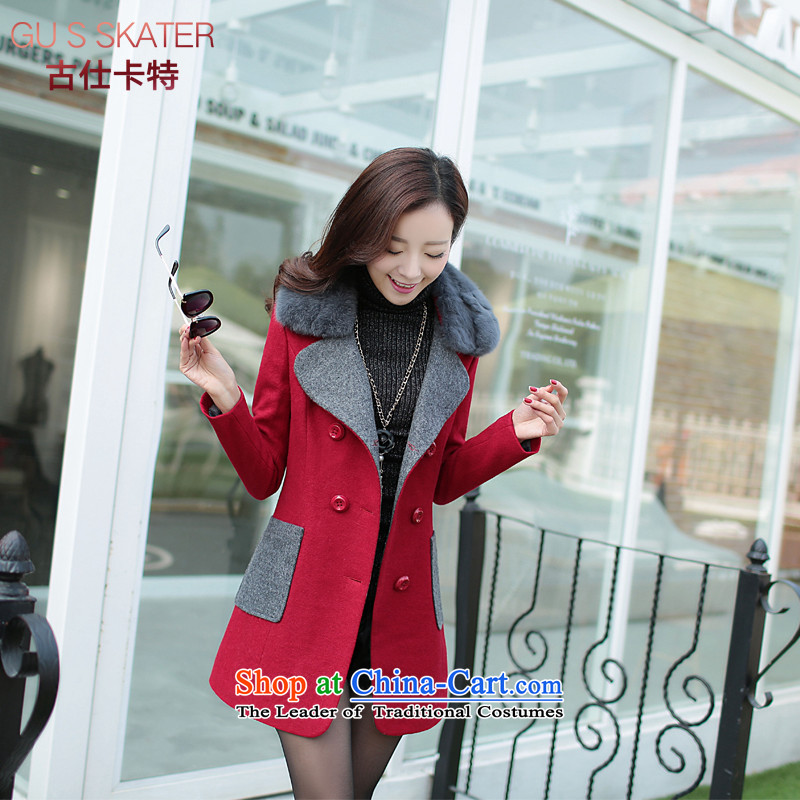 Mrs Rafael Hui Carter female jacket coat gross? 2015 autumn and winter female new a windbreaker. Long Korean lapel loose video thin double-Cherry Red?M
