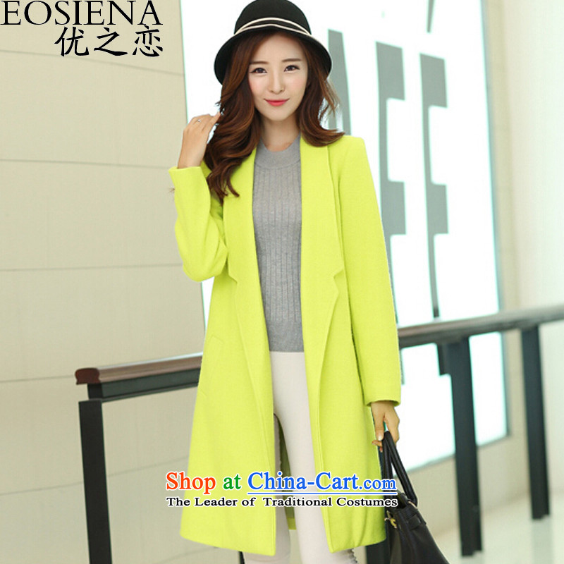 Optimize the聽2015 autumn and winter new larger female Stylish coat female Korean citizenry sweet candy colored elegant in Sau San long thick a wool coat female聽3XL green
