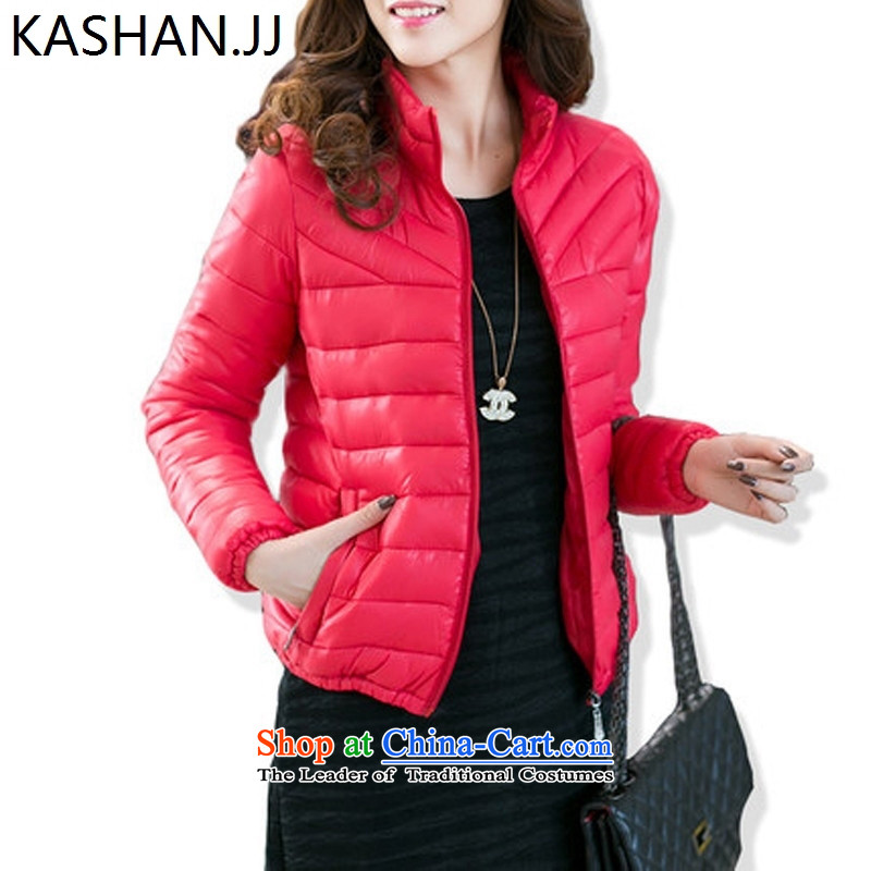 The reason for the large number card Shan Women for winter new fat mm plus hypertrophy number thick sister Korean short warm, collar cotton red 4XL