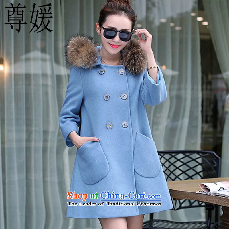 Extreme yuan by 2015 autumn and winter new Korean female coats loose hair? in the medium to long term for gross thick coat 1037 Lake blueXL