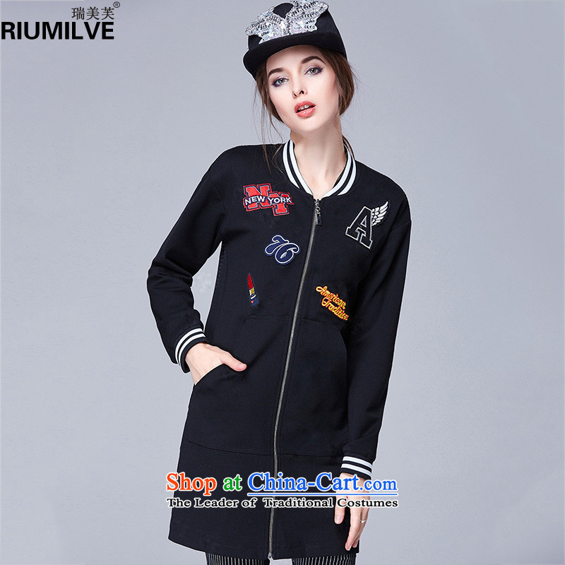 Rui Mei to2015 autumn and winter new xl female thick mm loose video thin stamp leisure butted long baseball N1603 black3XL services