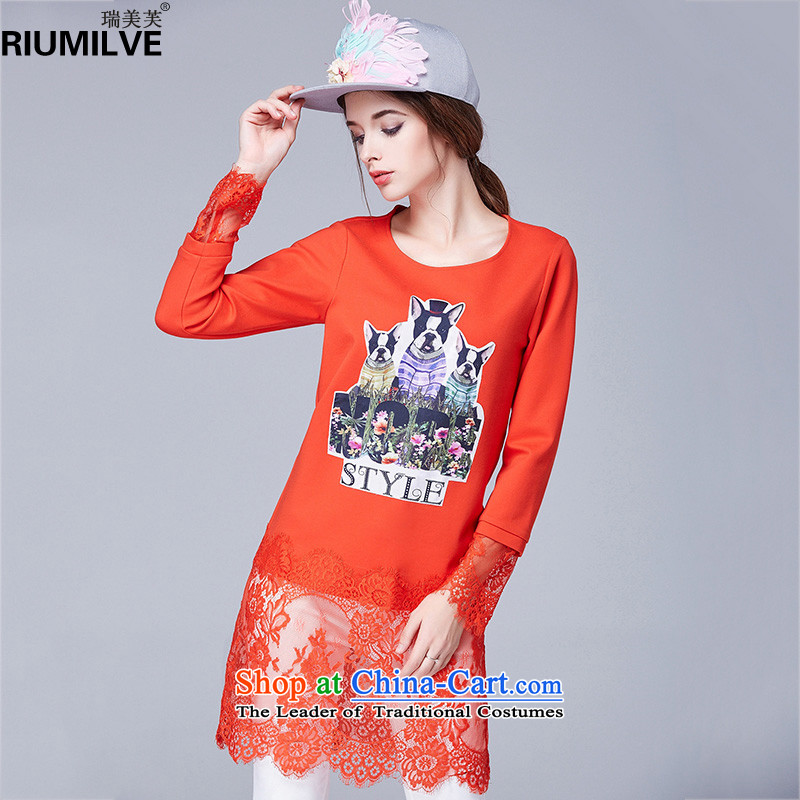 Rui Mei to�15 XL women with new expertise autumn mm thin lace Sau San video in the stitching long sleeve and long-sleeved T-shirt, forming the Netherlands N1602�L orange