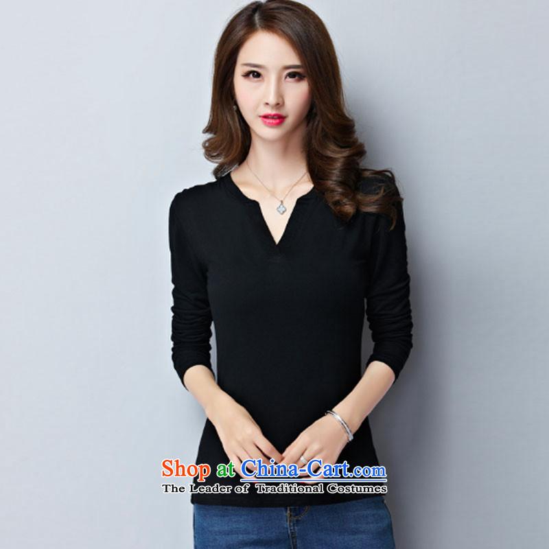 Gigi Lai Young Ah larger t-shirts thick girls' Graphics thin, long-sleeved thick sister load Choo Won version to xl ladies casual wear shirts black�L