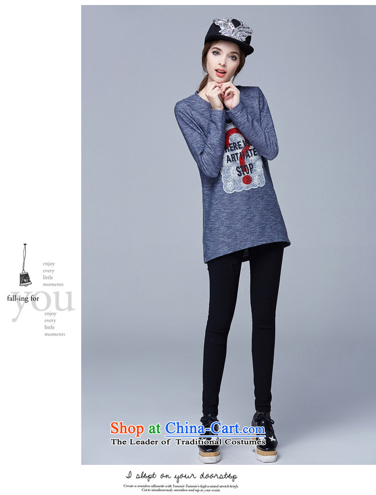 Rui Mei tofall 2015 new) XL female thick mm video thin round-neck collar loose long-sleeved T-shirt, forming the leisure knitted shirts shirt color picture4XL Photo N1023, prices, brand platters! The elections are supplied in the national character of distribution, so action, buy now enjoy more preferential! As soon as possible.