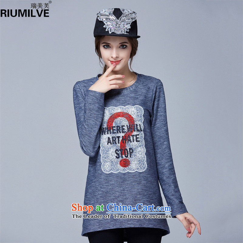 Rui Mei to聽fall 2015 new_ XL female thick mm video thin round-neck collar loose long-sleeved T-shirt, forming the leisure knitted shirts shirt color picture N1023聽4XL