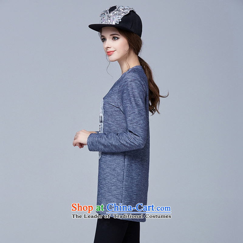 Rui Mei tofall 2015 new) XL female thick mm video thin round-neck collar loose long-sleeved T-shirt, forming the Leisure Knitted Shirt color picture4XL, N1023 shirt Rui Mei-RIUMILVE) , , , shopping on the Internet