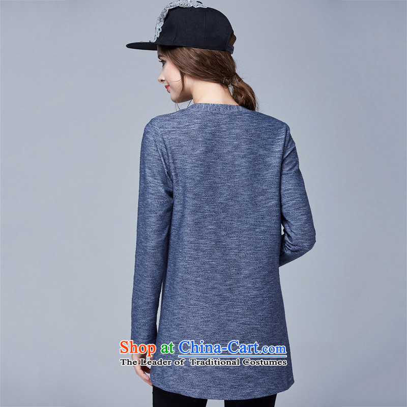 Rui Mei to fall 2015 new) XL female thick mm video thin round-neck collar loose long-sleeved T-shirt, forming the Leisure Knitted Shirt color picture 4XL, N1023 shirt Rui Mei-RIUMILVE) , , , shopping on the Internet