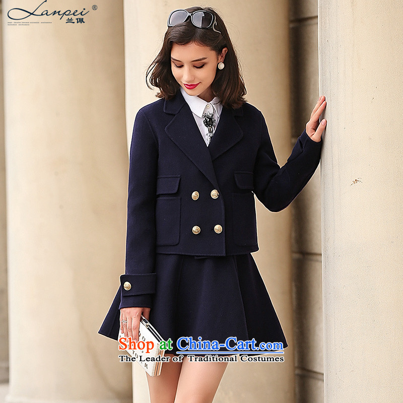 Ho Pui 2015 autumn and winter new double-side kit gross + short skirt body?_ double-sided woolen coat two kits navy燤