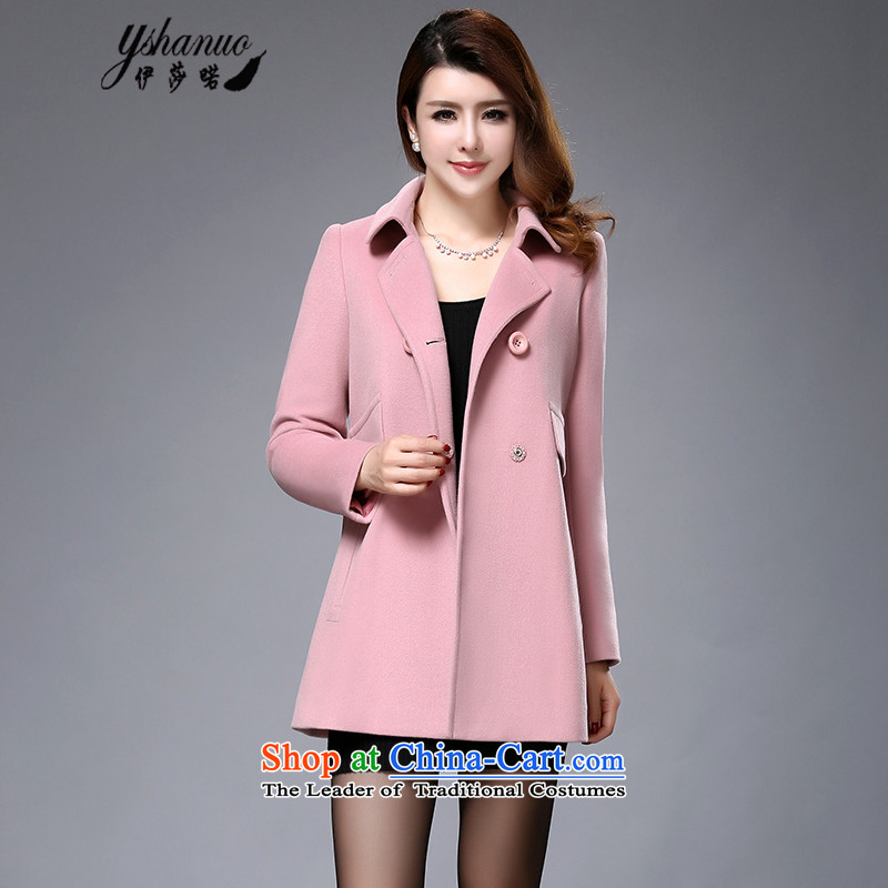 Isabel La Carconte 2015 autumn and winter new gross sweet lady? jacket double row is long woolen coat female YS1003 light pink M