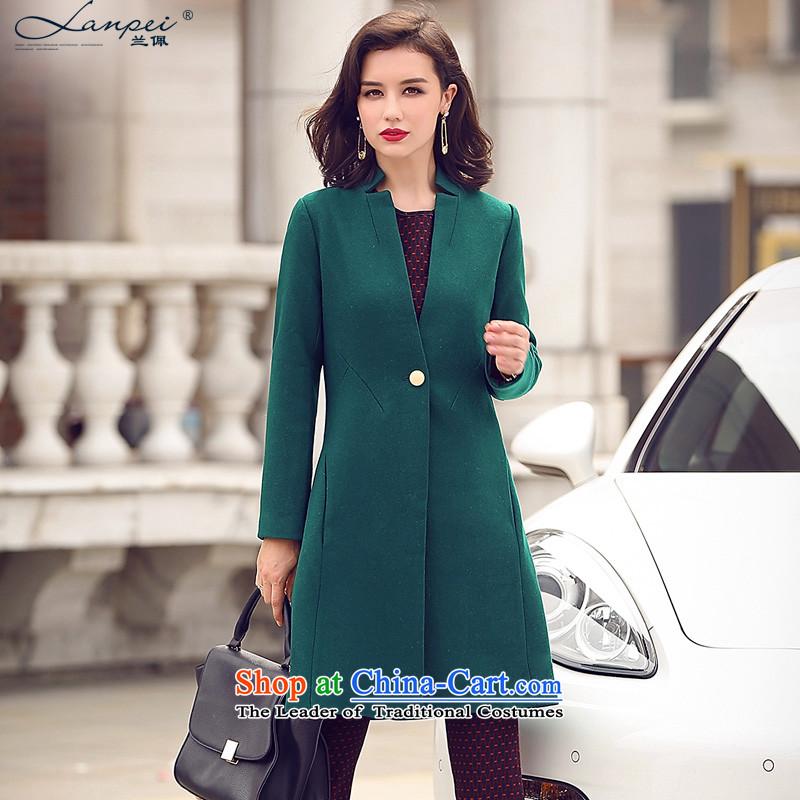 Ho Pui 2015 autumn and winter New Sau San video thin wool a wool coat girl in long temperament Mock-neck gross dark green jacket?S