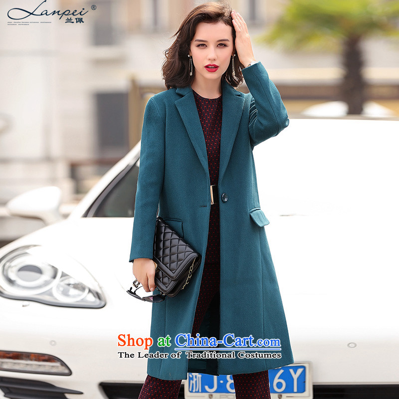 Estimated 2015 Autumn Load New Pei, Western business suits women in gross? jacket long temperament and stylish OL wool a wool coat lake blueXL