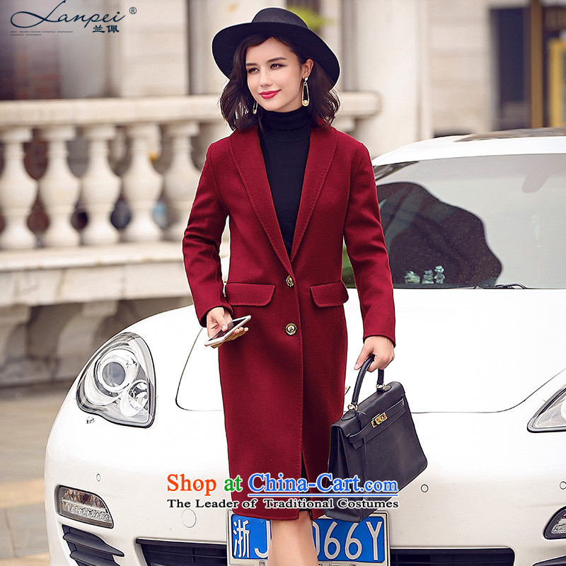 Ho Pui 2015 new manual two-sided wool velvet cloak female suits gross? double-side coats jacket wine red M