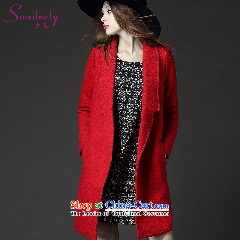 The Director of the Europe and the high end of the thick mm heavy code women to increase the autumn and winter coats in woolen? long long-sleeved jacket cardigan thin graphics5212Red Large Code 4XL around 922.747 180
