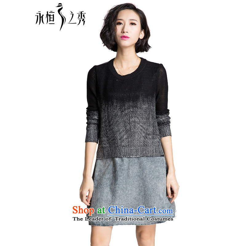 The Eternal Soo-XL women's dresses autumn 2015 new products thick mm sister Korean denim dress knitting sweater thick plus fertilizer video thin, Denim blue skirtXL