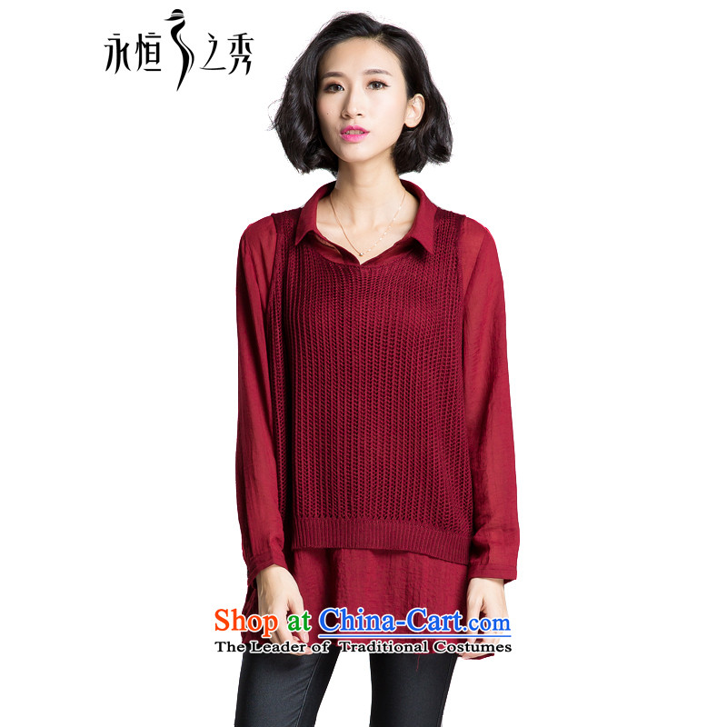 The Eternal-soo to xl female shirt two kits for autumn and winter 2015 new products thick mm sister autumn graphics thin Korean clothes, Hin thin, thick shirt chestnut horses 2XL