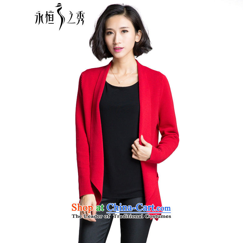 The Eternal Soo-To increase the number of ladies' knitted Cardigan Coat 2015 Fall_Winter Collections of new products on the Korean version of SISTER mm temperament, Hin thin, thick sweater red jacket�L