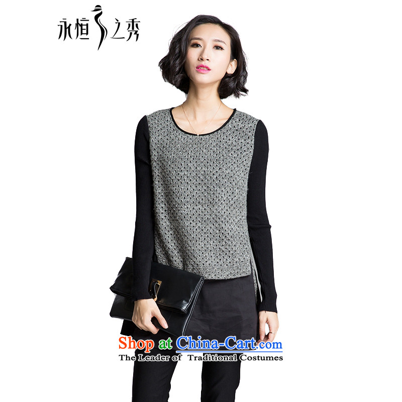 The Eternal-soo to xl t-shirts, forming the Netherlands autumn and winter new fat mm sister autumn graphics thin thick Korean fashion sweater, Knitted Shirt leave two T-shirts are spent Gray�L