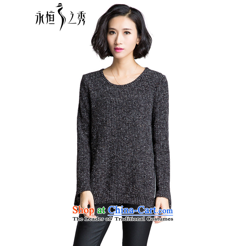 The Eternal Soo-to increase women's code t-shirts, forming the Netherlands 2015 winter new mm thick sister knitwear Korean autumn replacing thick, Hin thin, woolen pullover black�L
