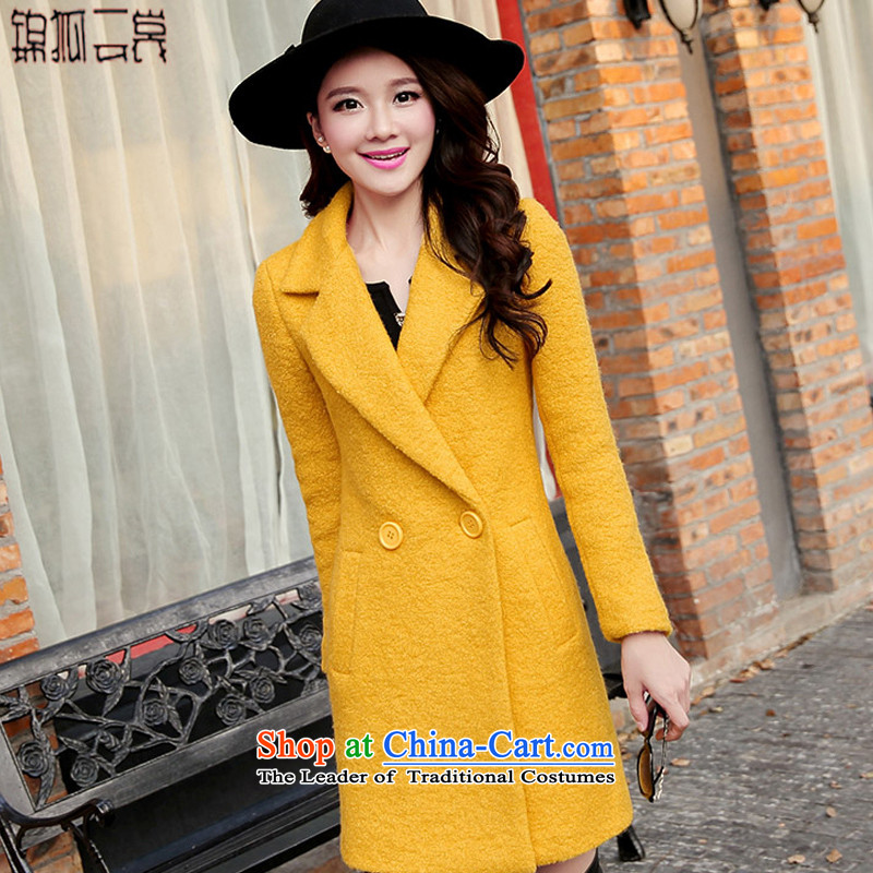 Kam Fox Ella Korean Women's jacket gross? In Thick Long large graphics thin solid-colored Sau San wool a wool coat N005 Yellow燬