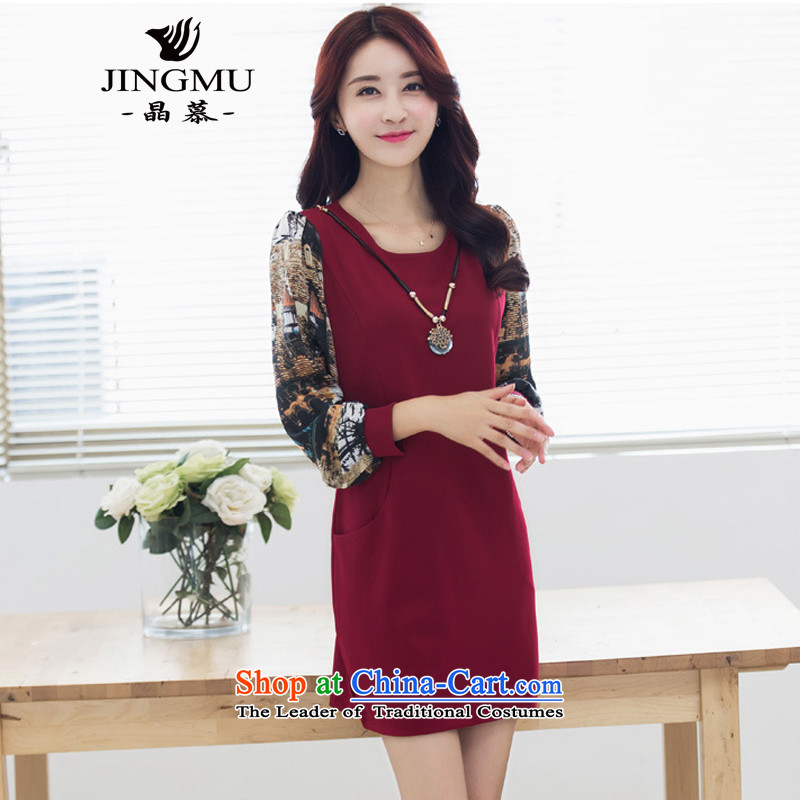 The autumn and winter load wafer new product version of large Korean women's code plus lint-free long-sleeved thick chiffon dress in forming long skirt XXXL wine red