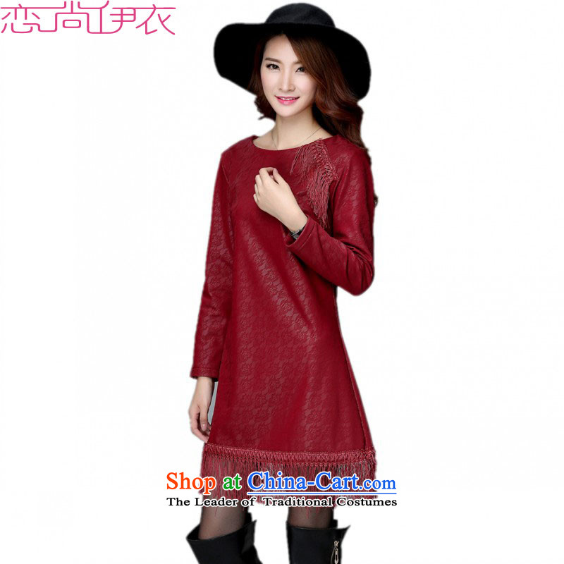 C.o.d. Package Mail thick Mei new dresses 2015 Autumn and Winter Female plus lint-free flow of skirt wear thick su petticoats temperament of a field for video thin OL skirts wine red�L燼pproximately 220 catties