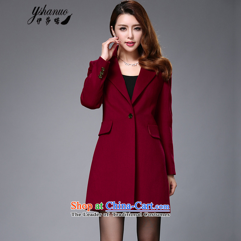 Isabel La Carconte 2015 autumn and winter coats girl won the new version is a stylish long wool coat female jacket gross? YS1002 BOURDEAUX燲XL