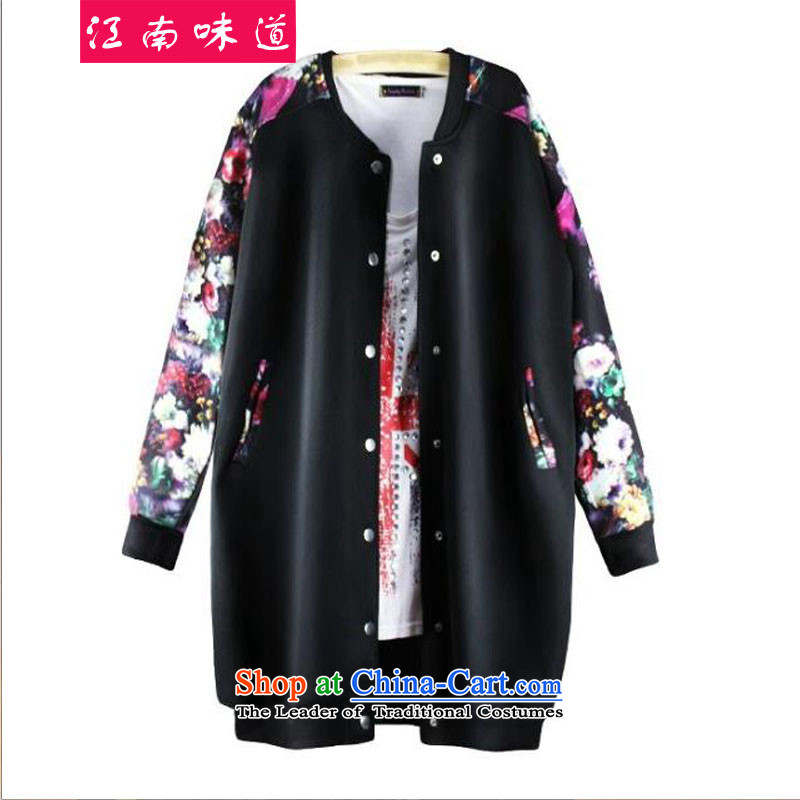Gangnam-gu  large 2015 taste female autumn and winter new Western Wind thick MM200 catty long-sleeved clothing cardigan in baseball long jacket, black 3XL recommendations 160-190 catty