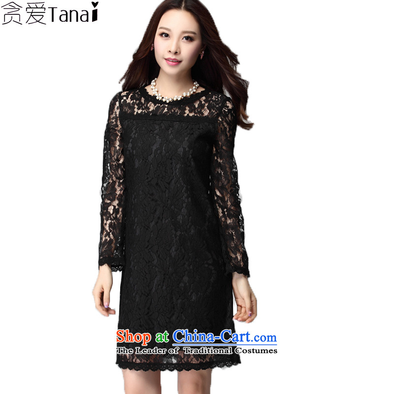 Coveted thick mm larger female graphics thin Korean Sau San lace dresses thick solid long-sleeved load autumn sister skirt bows service-621 black燲XL