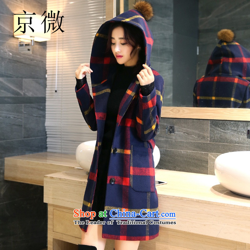 Kyung-jacket in gross? long cotton waffle 2015 winter folder girl who checked gross is decorated in Korean large stylish wool a wool coat female red checkered?L_165