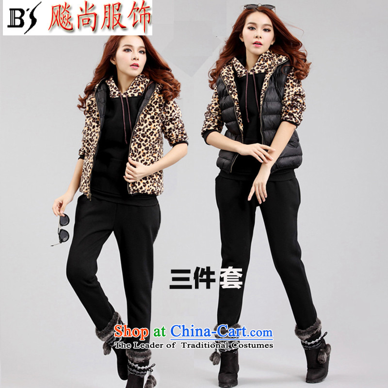 Yet by 2015 autumn and winter biao new Korean version of large numbers of ladies Leopard Ma focused sister 200 catties leisure SPORTSWEAR APPAREL 35567 3-piece set three piece 5XL  chest 9180-220 126 recommended catty