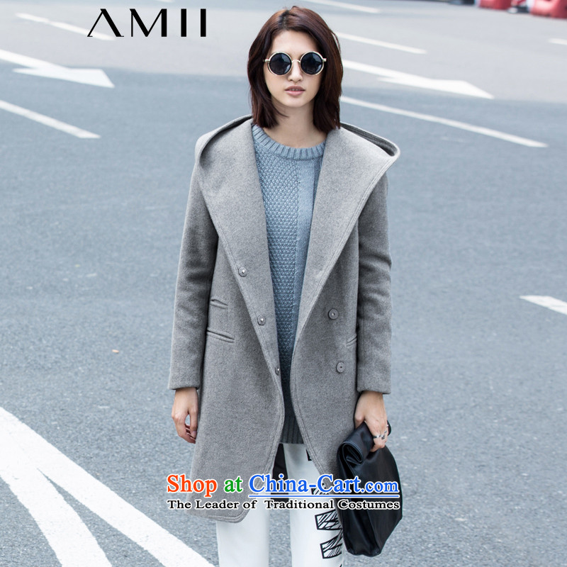 Amii- minimalist -2015 autumn and winter cool new products with cap large roll collar wool coat female 11571223? fog grayM