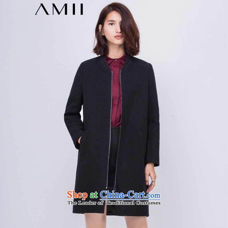 Amii- minimalist -2015 autumn and winter new baseball for small zip of the forklift truck for larger gross jacket 11581439? black L