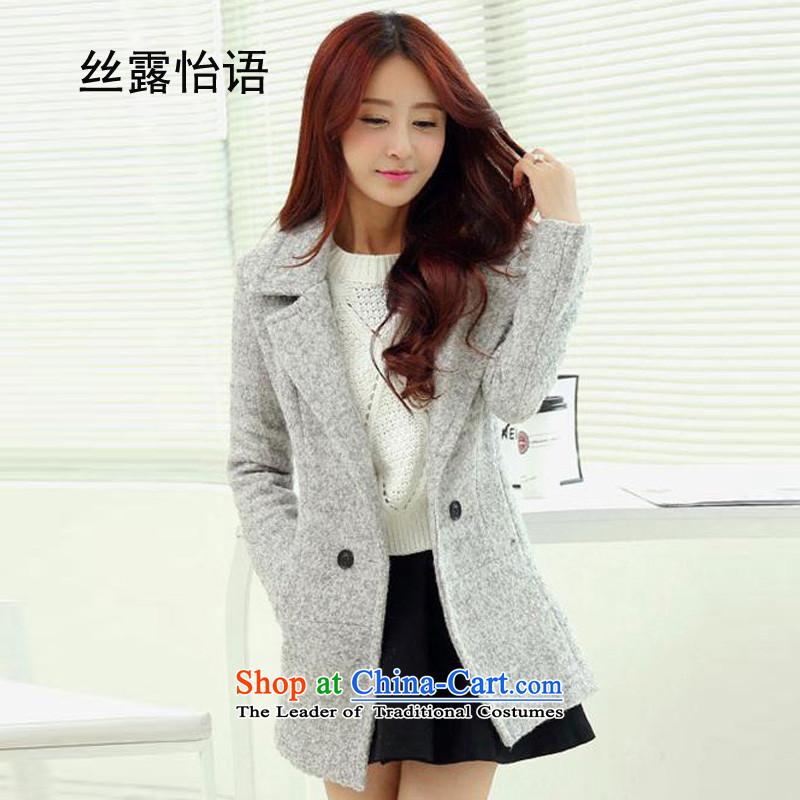 The population exposed in autumn and winter Selina CHOW for women in new long thin lapel of Sau San video? coats Korean citizenry is elegant and modern jacket coat 1018 gray hair?M