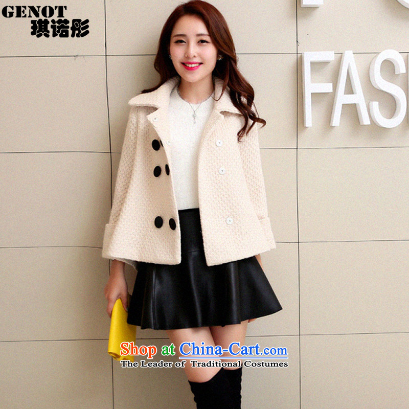 The Tong Mao so angel girl short of coat 2015 autumn and winter new Korean citizenry elegant small incense Sau San wind a wool coat 6,698 cluster bomb sub white聽S