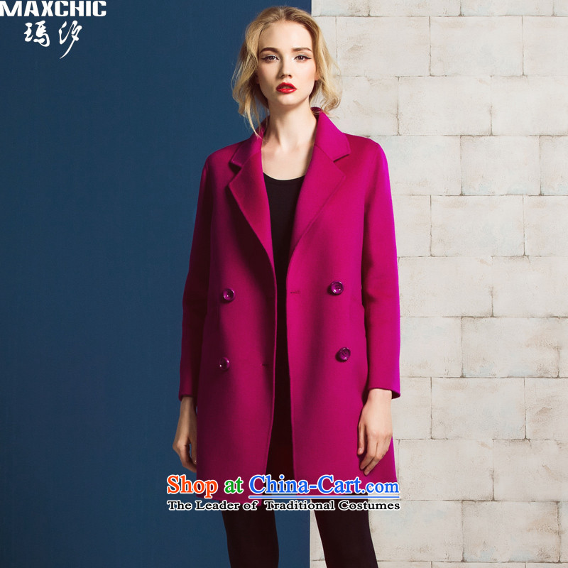 Marguerite Hsichih maxchic 2015 Ms. autumn and winter clothing for double-oblique-bag simple loose double-side wool coat? 19002 purple M