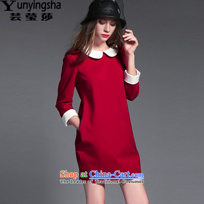 Yun-ying sa 2015 autumn, the major new codes in the women's long long-sleeved dolls, forming the basis for the Liberal Women's larger dresses D9544 female red XXXL