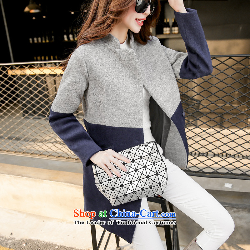 Sin has so gross jacket female 2015 new products fall Korean modern color plane collision video     in the thin long wool coat on the gray under this navy blue� XL