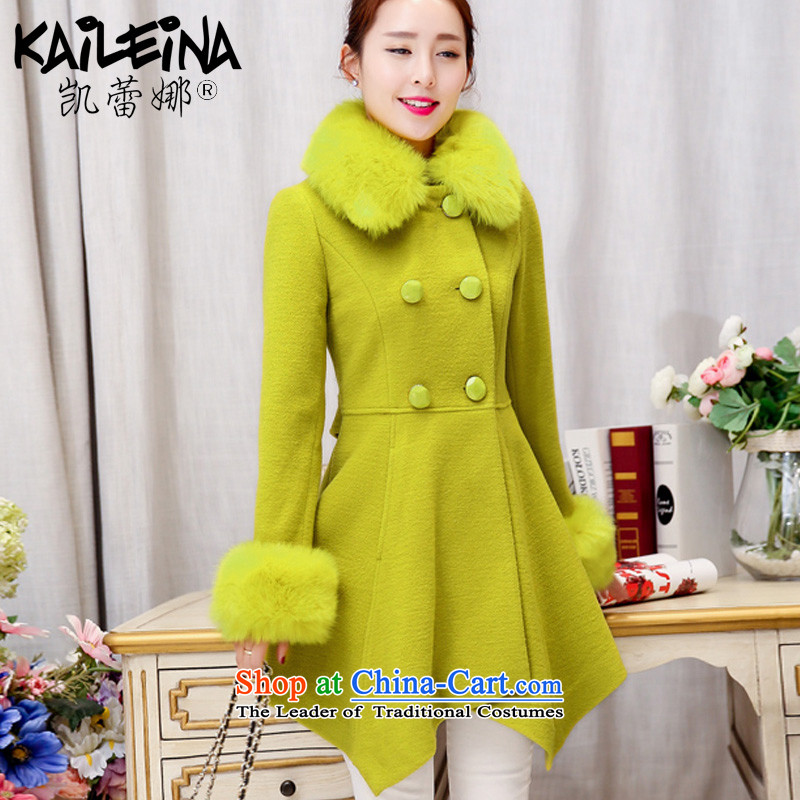 Kai Rikke gross coats female new winter? for women in the Korean version of the jacket of Sau San a wool coat C103 light green fruit M