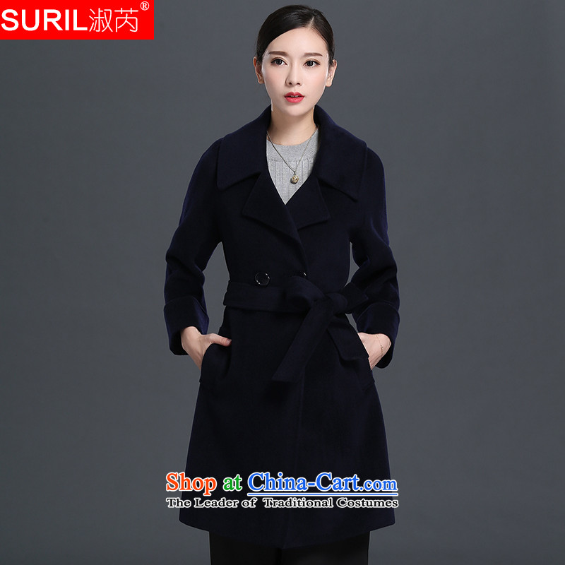 Mrs and woolen coat female lint-free female? jacket coat gross female new 2015 Fall_Winter Collections in long 151510 navy blue XXL