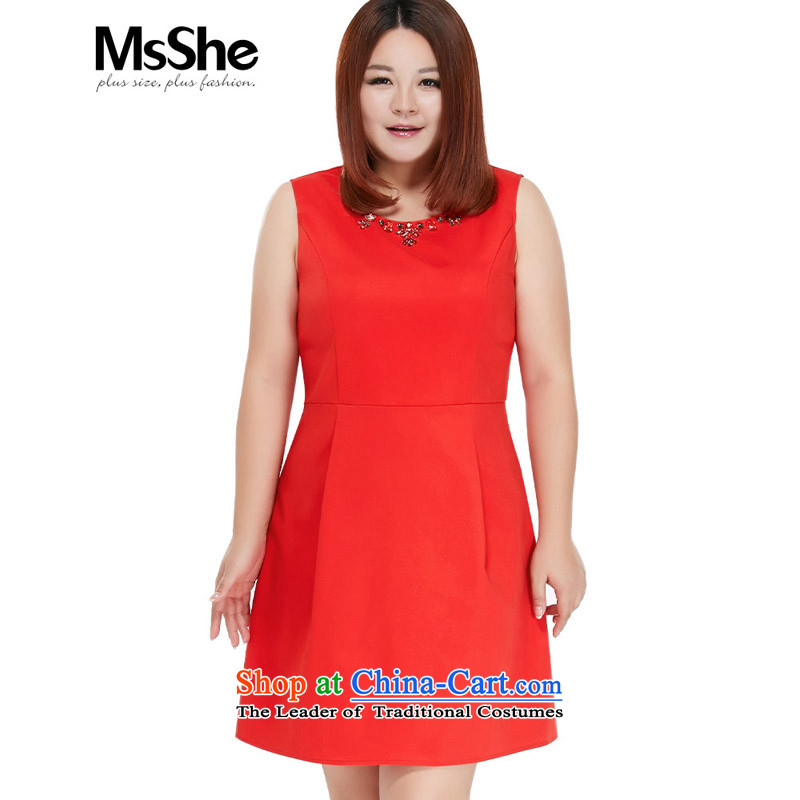 Msshe xl women 2015 new fall inside a swing small MM thick vest dresses 10135 Red Red4XL