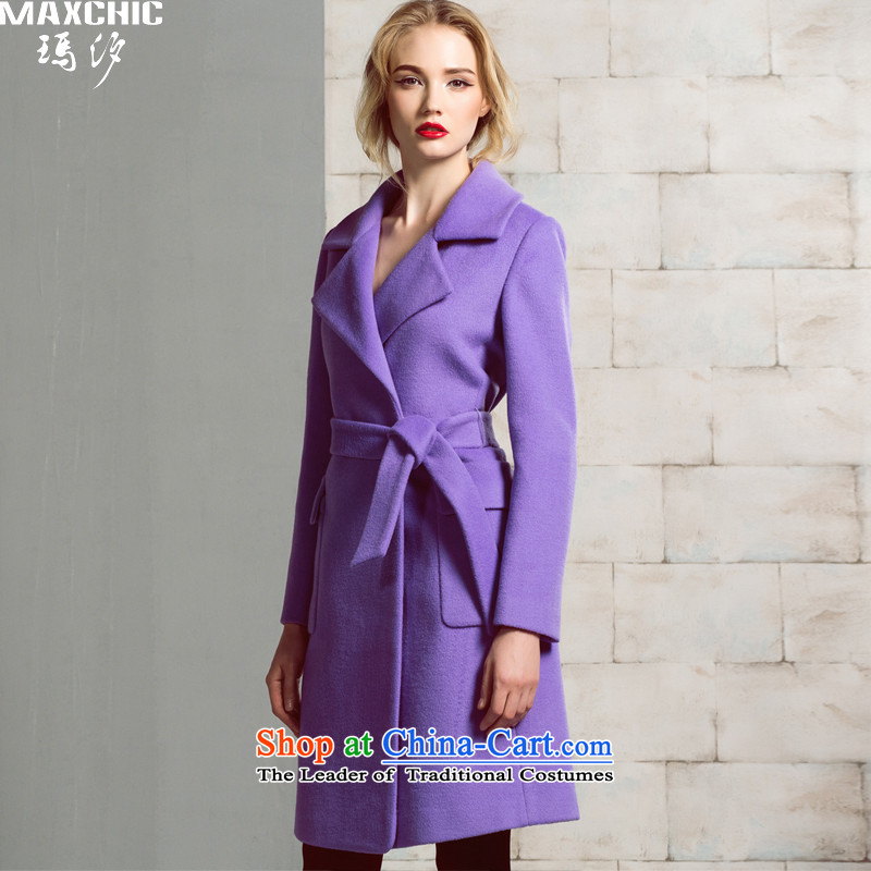 Marguerite Hsichih maxchic 2015 autumn and winter western trendy lapel Ming-bag is simple and stylish. The cloth belt wool coat of Sau San? 20062 purpleM