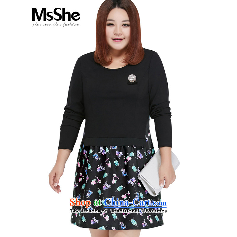 Msshe xl women 2015 new MM thick autumn false two stitching dress Foutune of 10558 Black 3XL green