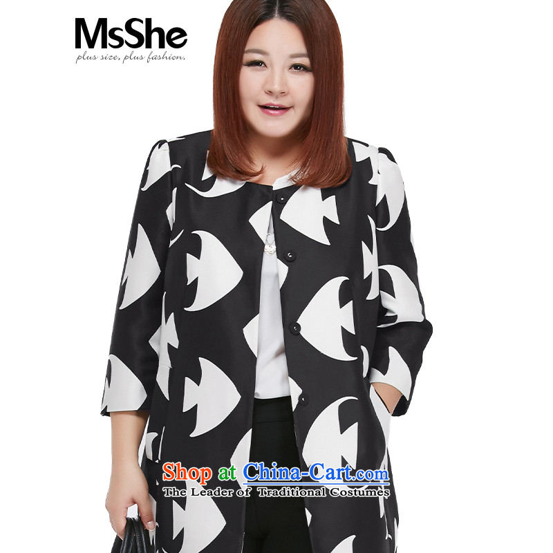 Msshe xl women 2015 new fall thick sister 7 to replace cuff stamp cardigan jacket received white on black flower�L