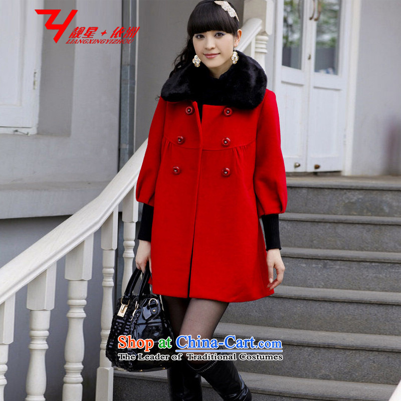 Xing Yi Chau Talks 2015 MM thick fall more than 260 women's burden may pass through extra-large graphics thin mother loaded code Korean version in the double-long hair red overcoat 5XL?