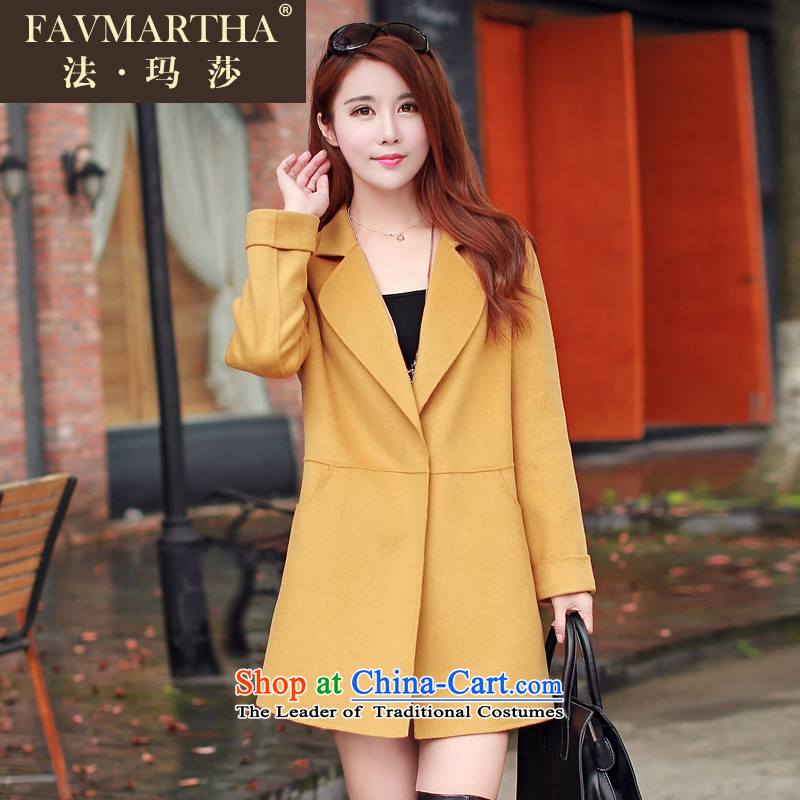 The law FAVMARTHA_ Martha Fall_Winter Collections Korean version of the new Cashmere wool coat jacket female 22? Yellow燲L