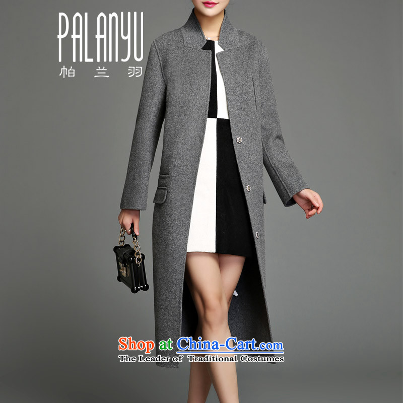 Palun Yu 2015 European site autumn and winter high-end new plain manual two-sided a cashmere overcoat female wool coat long)?   the knees YD05 Gray L