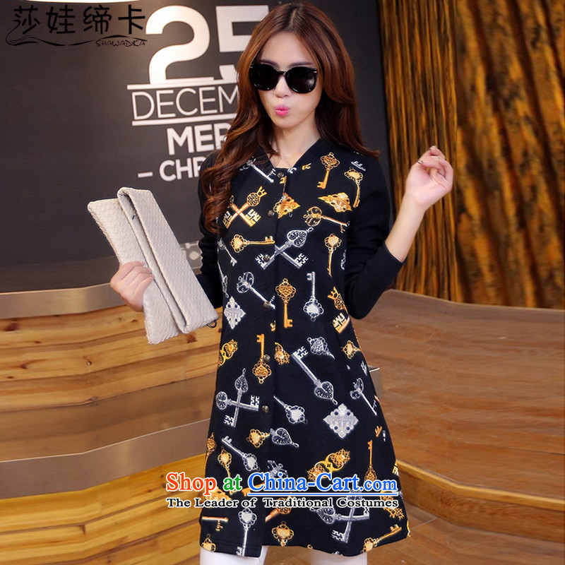 Elisabeth wa concluded to intensify the spring and autumn card female extra-thick girls' Graphics thin, Choo 200catty larger women fall in the medium to long term, jacket coat female black overcoatfor 180 to 200 XXXXXL catty