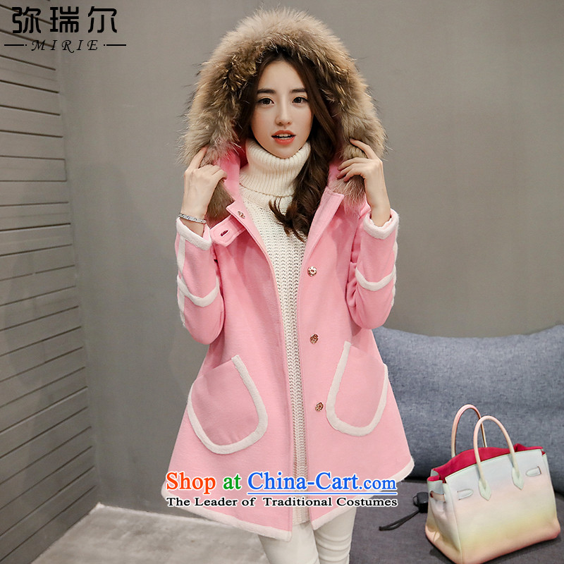 Indemnity riels gross girls jacket? Long 2015 autumn and winter new Korean tie cap a gross cloak long-sleeved leather coats powder _? No gross collar_ L recommendations 120 around 922.747_