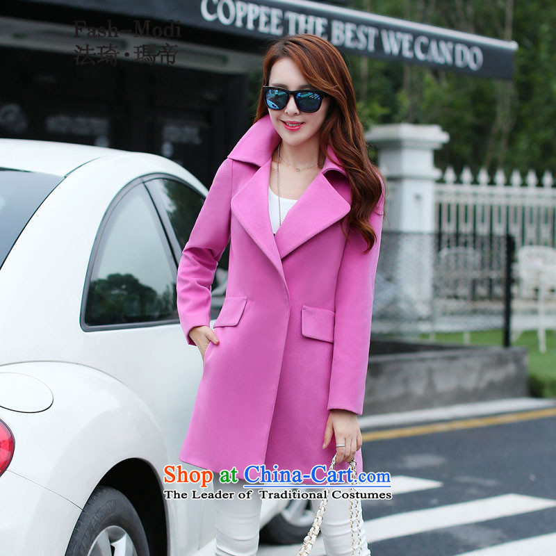 The law was in Dili Gross So Qi jacket female new_ Autumn 2015 Korean version in Sau San long roll collar small incense wind single row detained a wool coat jacket pink peach. L.