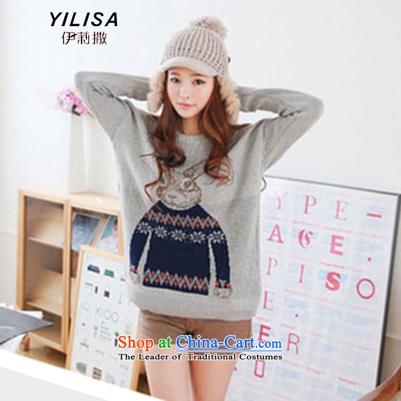 Elizabeth new sub-large European and American women Fall_Winter Collections thick MM to intensify the code 200 catties ultra-stamp forming the rabbit woolen sweater knit shirts H5202聽5XL Gray